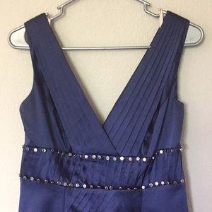 Karen Millen Dress Silk Blue Silver Dress v neck